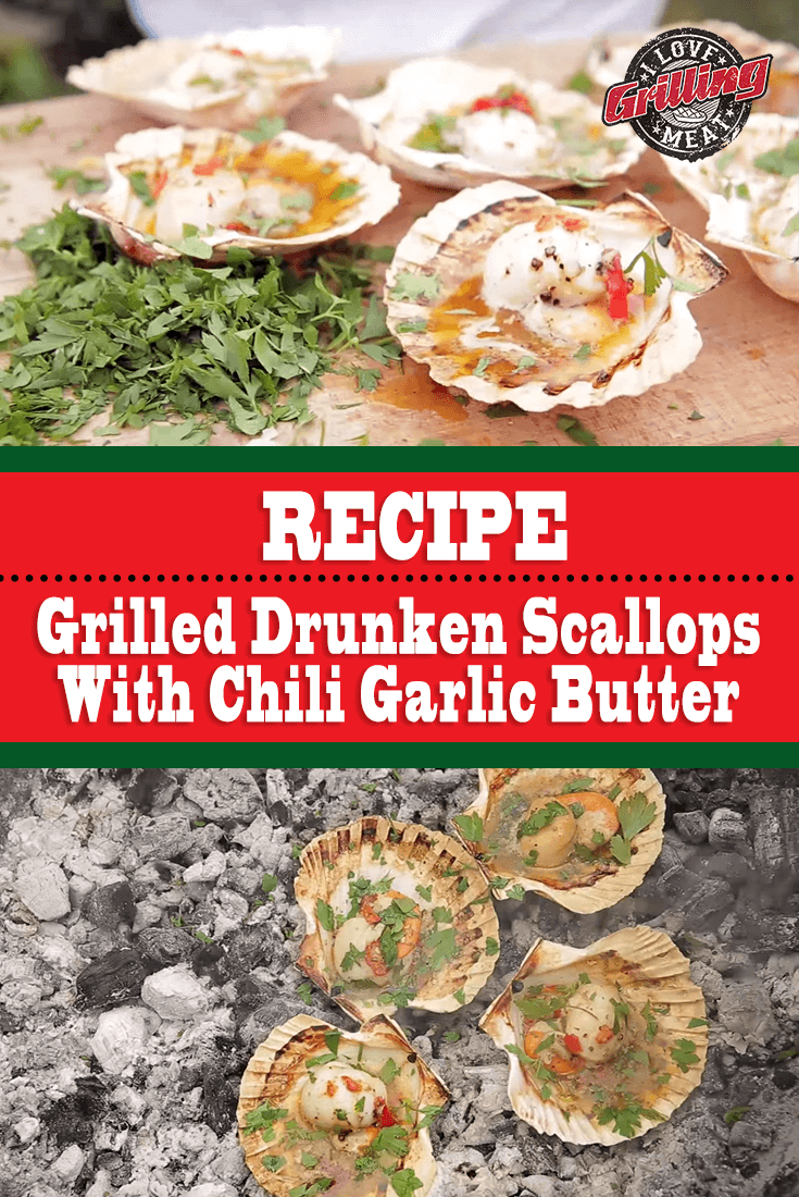 Grilled Drunken Scallops Recipe With Chili Garlic Butter