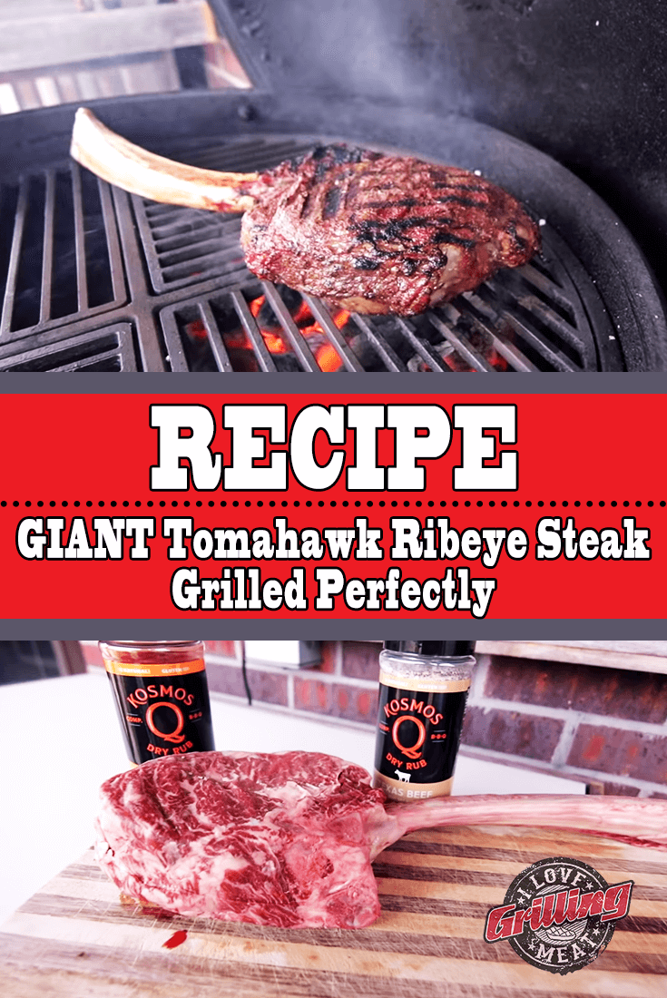 Giant Tomahawk Ribeye Steak Grilled Perfectly